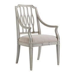 Stanley Furniture - Charleston Regency-Cooper Dining Arm Chair - The elliptical silhouette of the Cooper Dining Arm Chair's pierced back splat is at home in transitional and traditional environs alike.
