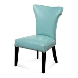 Bassett Mirror - Nelson Nailhead Parsons Chairs, Turquoise, Set of 2 - Style your transitional decor with these Nelson Nailhead Parsons Chairs. Features include a light turquoise kleen seat, hammerhead back, solid black legs and silver nailhead trim on the front and side seat rails. Set these chairs at your dining room or kitchen table for a sleek, sophisticated look with a pop of bright color.