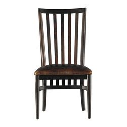 Stanley Furniture - Modern Craftsman-Craftsman Farms Side Chair - As a general rule, turn-of-the-century craftsman believed that every object in every home--whether furnishing or furniture - should be useful, beautiful or both. We're proud to uphold the standard with our Craftsman Farms Side Chair. Elegant in proportion, style and detail, the streamlined chair blends well with a wide range of aesthetics. Extending nearly two inches below the Super Comfort seat, gently curved vertical slats add height and drama. In your choice hand-rubbed finishes, this modern masterpiece is destined to become a staple of contemporary decor.