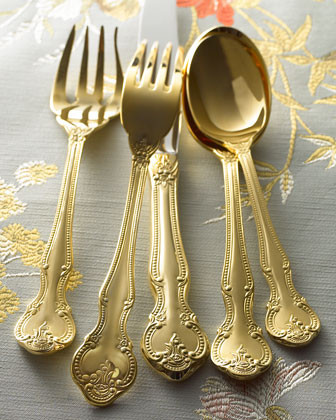 45-Piece Gold-Plated Baroque Flatware Service - traditional
