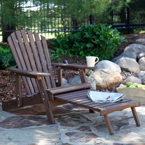 Grand Daddy Oversized Adirondack Chair with Pull out Ottoman Dark Brown C