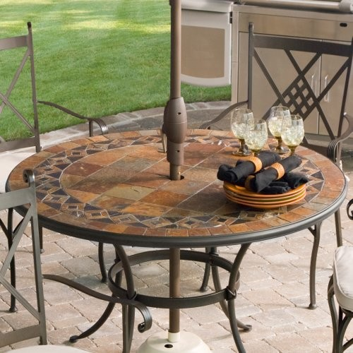 palazetto lucca 48 inch round mosaic patio dining set