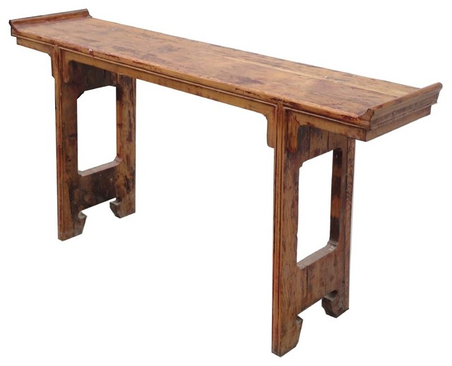 Chinese narrow rustic raw wood altar console table for Thin console table