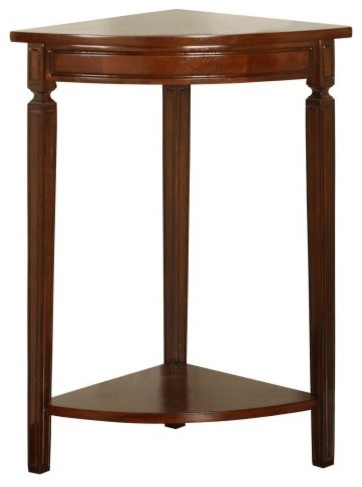 Powell corner accent table mahogany traditional side for Corner side table
