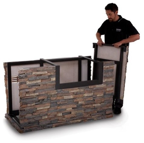 American outdoor grill 790 stack stone base with midnight for Modern barbecue grill